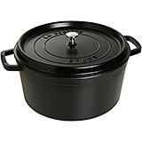 Black Matte, Round Cast Iron Cocotte, 13.25 Qt