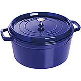 Dark Blue, Round Cast Iron Cocotte, 13.25 Qt