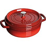 Cherry, Round Dutch Oven, Cast Iron Cocotte, 4 Qt