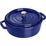 Dark Blue, Round Dutch Oven, Cast Iron Cocotte, 4 Qt