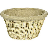 Wicker Lined Bread Basket, Round, 8.25""