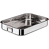 Stainless Steel Rectangular Roasting Pan, Folding Handles, Heavy Gauge