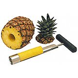 Black, Stainless Steel Pineapple Corer, Plastic Handle