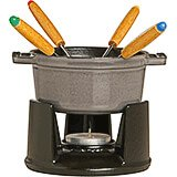 Graphite Grey, Mini Cast Iron Chocolate Fondue Set With 4 Forks, 0.25 Qt