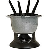 Graphite Grey, Small Cast Iron Fondue Set, 0.75 Qt