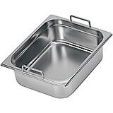 "Stainless Steel Hotel Pan 1/2 Gn with Fixed Handles, 6"" Deep"