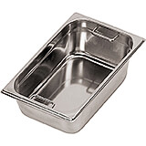 "Stainless Steel Hotel Pan 1/4 Gn with Interior Handles, 7.88"" Deep"