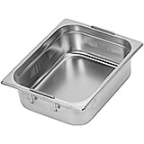 "Stainless Steel Hotel Pan 1/2 Gn with Retractable Handles, 4"" Deep"