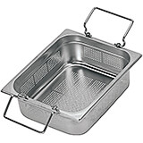 "Stainless Steel 1/1 Gn Colander / Perforated Pan, Retractable Handle, 6"" Deep"