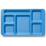 Blue, 2x2 Polycarbonate 6-Compartment Cafeteria Trays 24/PK