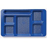 Navy Blue, 2x2 Co-Polymer 6-Compartment Cafeteria Trays, 24/PK