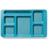 Teal, 2x2 Polycarbonate 6-Compartment Cafeteria Trays 24/PK