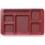 Cranberry, 2x2 Co-Polymer 6-Compartment Cafeteria Trays, 24/PK