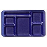 Translucent Blue, 2x2 Polycarbonate 6-Compartment Cafeteria Trays 24/PK