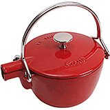 Cherry, Round Cast Iron Teapot / Kettle, 1 Qt