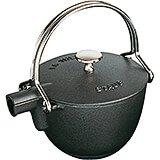 Black Matte, Round Cast Iron Teapot / Kettle, 1 Qt