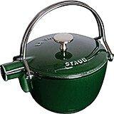 Basil, Round Cast Iron Teapot / Kettle, 1 Qt