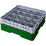 "Sherwood Green, 16 Comp. Glass Rack, Full Size, 9-3/8"" H Max."