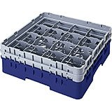 "Navy Blue, 16 Comp. Glass Rack, Full Size, 8.5"" H Max."