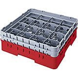 "Cranberry, 9 Comp. Glass Rack, Full Size, 3-5/8"" H Max."