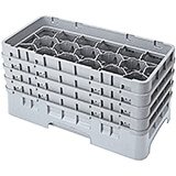 "Soft Gray, 17 Comp. Glass Rack, Half Size, 10-1/8"" H Max."