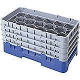 "Navy Blue, 17 Comp. Glass Rack, Half Size, 8.5"" H Max."