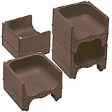 Dark Brown, Dual Height Booster Seat, No Strap, 4/PK