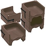 Dark Brown, Dual Height Booster Seat with Strap, 4/PK