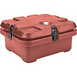Brick Red, Top Loading Insulated Food Carrier, Half Size Pans