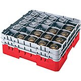 "Red, 25 Comp. Glass Rack, Full Size, 9-3/8"" H Max."
