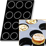 Black, Silicone Flexipan 8 Oz. Quiches / Tart Mold, 12 Cups