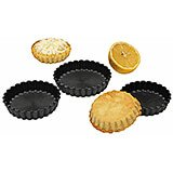 "Black, Exoglass Round Fluted Tartlet Baking Pan, 3.5"" Diam., 12/PK"
