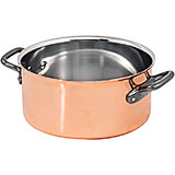 Copper, Casserole / Rondeau Without Lid, 7.87""