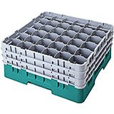 "Teal, 36 Comp. Glass Rack, Full Size, 9-3/8"" H Max."