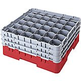 "Cranberry, 36 Comp. Glass Rack, Full Size, 9-3/8"" H Max."