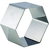 "Stainless Steel Pastry / Dessert Ring Mold, Hexagon Shape, 1.5"", 4/PK"