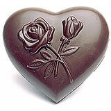 Polycarbonate Flower Decorated Heart Chocolate Molds, Sheet Of 4
