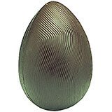 """Clear, Polycarbonate Grooved Egg Shape Chocolate Molds, 6.25"""""""