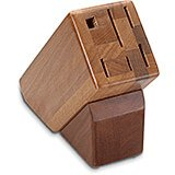 Hardwood Block, 6-Slot, Holds 5 Knives and Steel Honing Sharpener