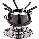 Black, Stainless Steel Meat Fondue Set, 6 Forks
