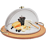Plexiglass 3-Piece Rotating Food Dome Cover, Wood Base & Acrylic Platter