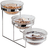 Clear, Chrome Steel Three-tier Bowl Stand and Bowls Set, 9.5""