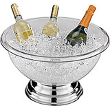 Clear, Polycarbonate Punch Bowl with Stainless Steel Base, 16 Qt