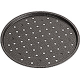 Black, Aluminum Non-stick Perforated Round Baking Sheet, 11.88""