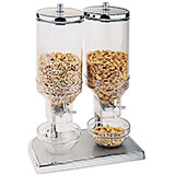 Clear, Polypropylene Double Cereal Dispenser, Stainless Steel Lid and Base