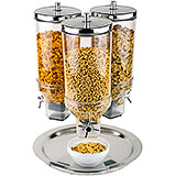 Clear, Polypropylene Triple Cereal Dispenser, Stainless Steel Lid and Base