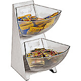 Clear, Stainless Steel Condiment Tower, 2 Acrylic Bins