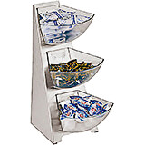 Clear, Stainless Steel Condiment Tower, 3 Acrylic Bins