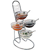 Clear, Chrome Steel Three-tier Buffet Ladder and Medium Bowl Set, 11.88""