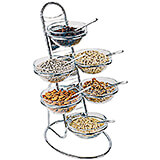 Clear, Chrome Steel Four-tier Buffet Ladder and Medium Bowl Set, 11.88""